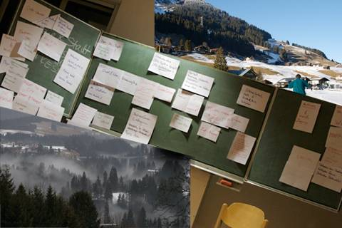 montage showing a blackboard, a foggy mountain valley and nordic skiing