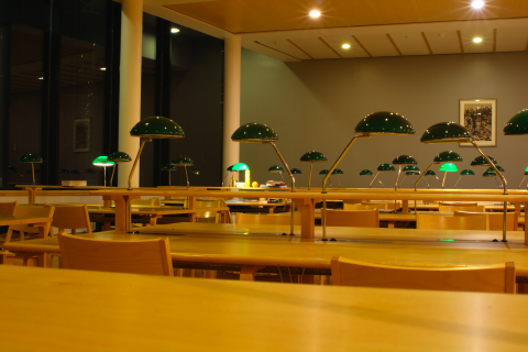 reading desks in empty library during the evening