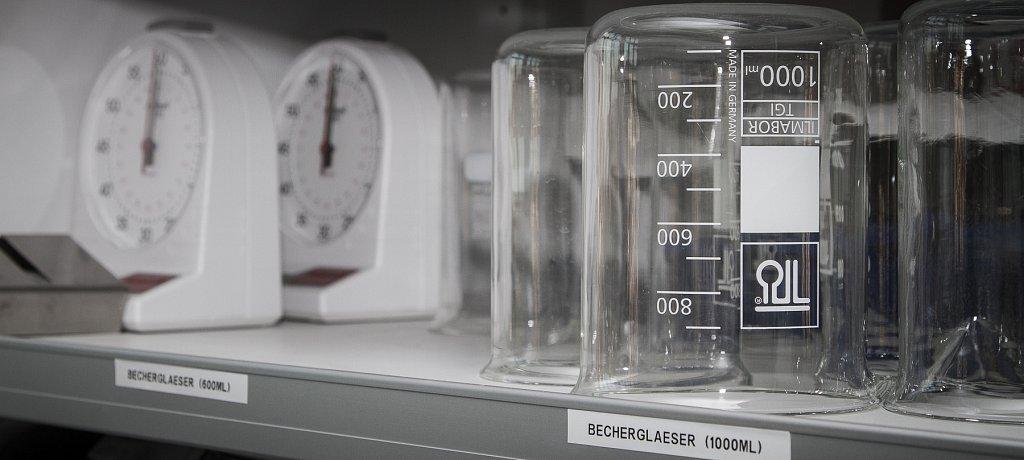 clock and beaker
